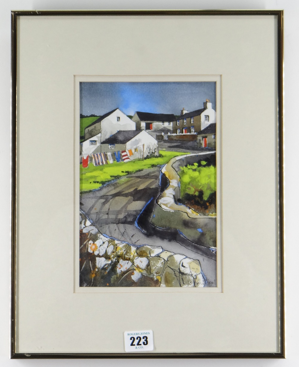 JOHN CLEAL watercolour and ink - West Wales village street with washing line and cottages, - Image 2 of 2