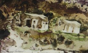JOHN KNAPP-FISHER mixed media - Continental buildings with figures, signed and dated 1981, 12.5 x