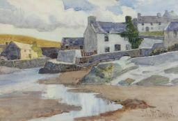 JOHN MCDOUGAL watercolour - fishing village, probably Ynys Mon, signed, 24 x 34cms Provenance: