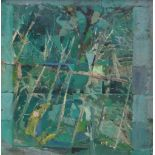 GORDON STUART oil on board - semi-abstract trees in woodland, entitled verso 'Entry', signed, 34 x