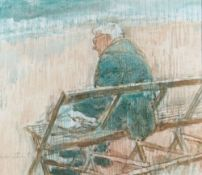 GORDON STUART watercolour - seated male on bench with packed lunch, entitled verso 'Late Lunch and