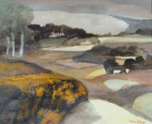 JOHN ELWYN watercolour - landscape, entitled verso on Attic Gallery Swansea label 'Between Seasons',