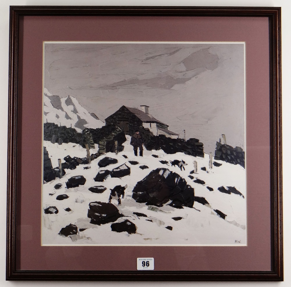 SIR KYFFIN WILLIAMS RA unsigned print - entitled 'Snow in Nant Peris', unsigned, 37.5 x 37cms - Image 2 of 2