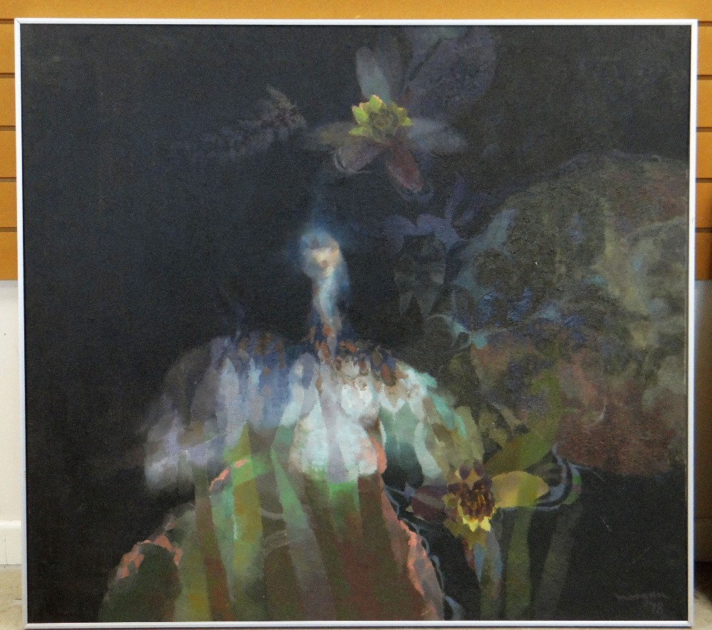 GLYN MORGAN oil on canvas - entitled verso 'Owl Over a Lily Pond' , signed 'Morgan', dated 1978, 113 - Image 2 of 2