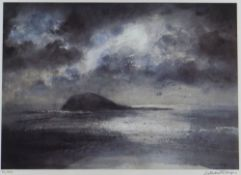WILLIAM SELWYN limited edition (34/300) print - rocky outcrop on remote Welsh island, in calm sea