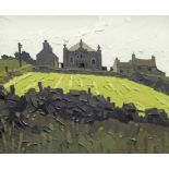 SIR KYFFIN WILLIAMS RA oil on canvas - Rhoscolyn village, Ynys Mon, with chapel in centre of