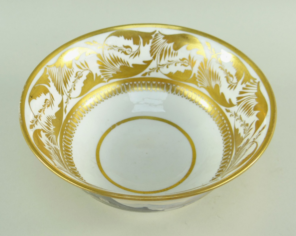 A SWANSEA PORCELAIN LANDSCAPE DECORATED TEA BOWL of footed form with flared body, London decorated - Image 2 of 3