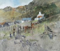 MALCOLM EDWARDS watercolour - Scottish Highland farm with farmer and two sheep-dogs, entitled