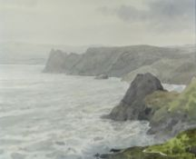 GARETH THOMAS watercolour - Gower coastline, signed and dated 1986, 33 x 41cms Provenance: from