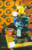 DONALD MCINTYRE oil on board - interior, entitled verso 'Still Life with Flowers', circa 1970,