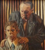 ED POVEY oil on canvas - entitled 'Guarding Your Sources', 44.5 x 39.5cms Provenance: purchased by