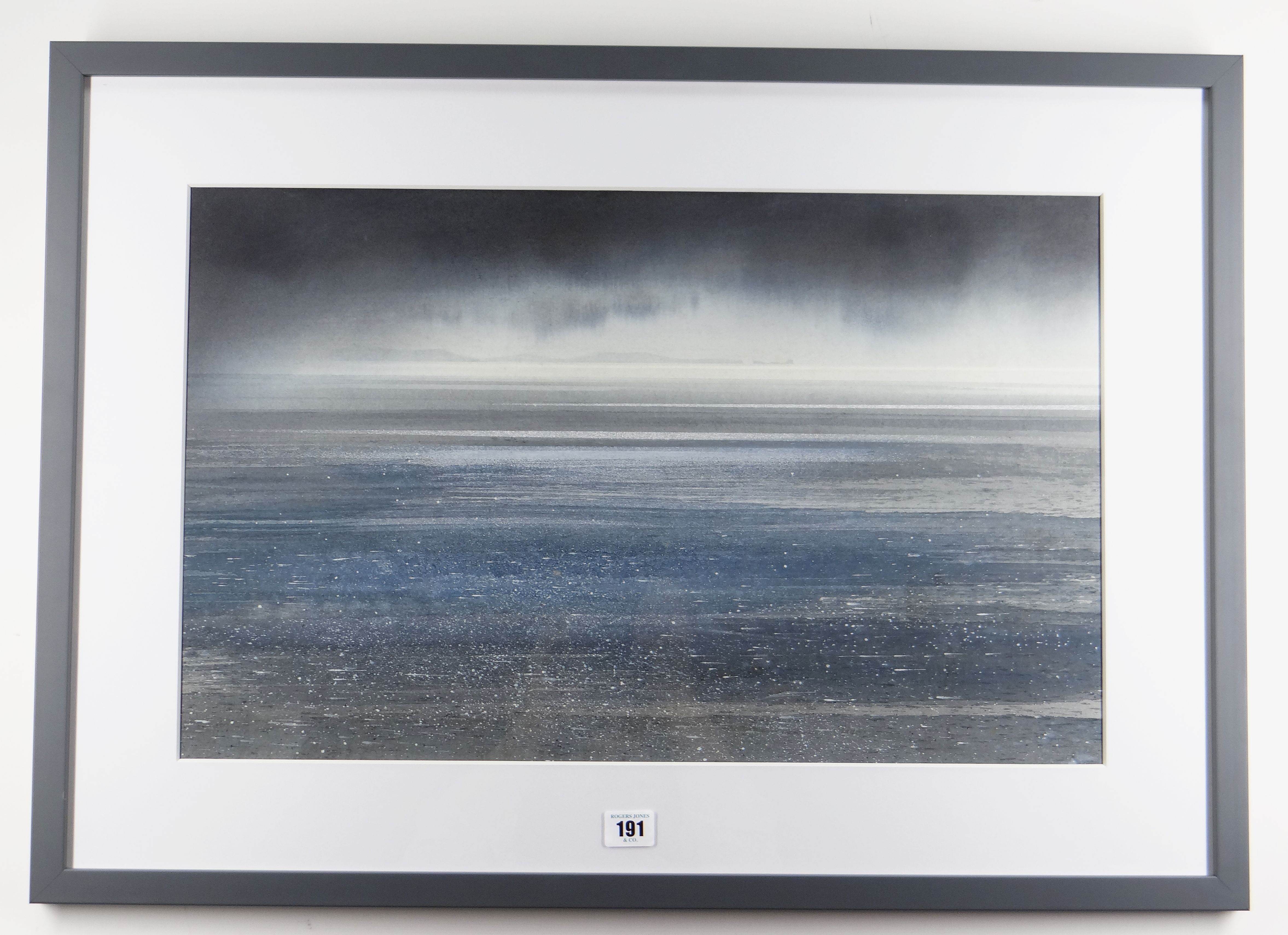 NAOMI TYDEMAN watercolour - view over water towards the Gower peninsula, 36 x 58.5cms Provenance: - Image 2 of 2