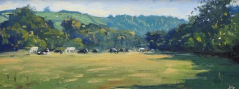 THOMAS HASKETT oil on board - landscape with cows entitled verso 'Cows at Llawhaden', signed with