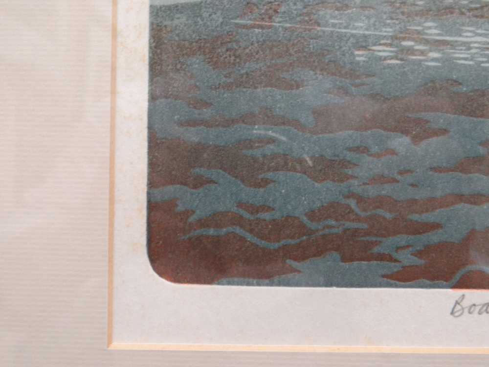 BERNARD GREEN limited edition (8/55) linocut print - entitled 'Boats at Lower Fishguard', signed, 37 - Image 4 of 8