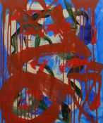 MAURICE COCKRILL oil on canvas - abstract in red, green, blues and cream, signed verso, 60 x 50cms