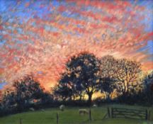 THOMAS HASKETT oil on board - landscape with trees and sheep, entitled verso 'Autumn Sunset', signed