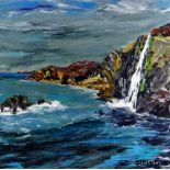 SION MCINTYRE oil on card - waterfall over cliff face, entitled verso 'Tresaith Waterfall,