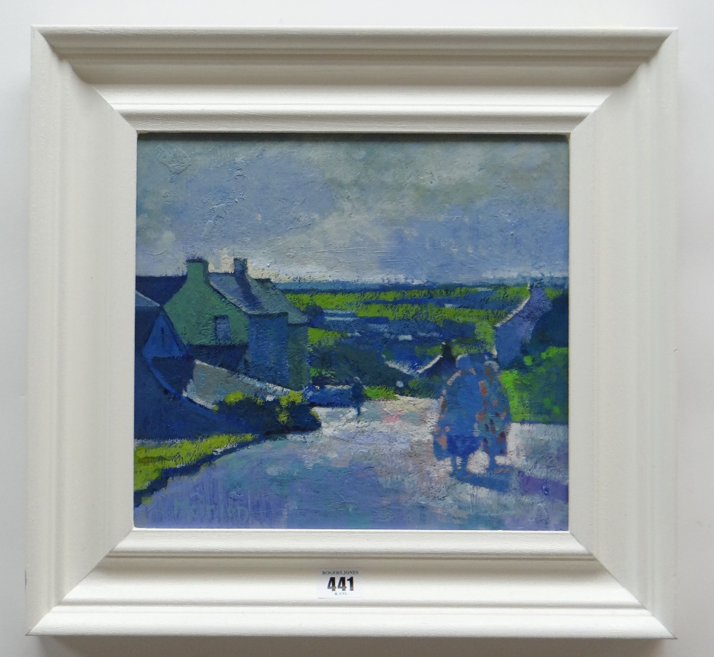 MEIRION JONES oil on board - figures on a village road with landscape, signed, 27 x 29cms - Image 2 of 2