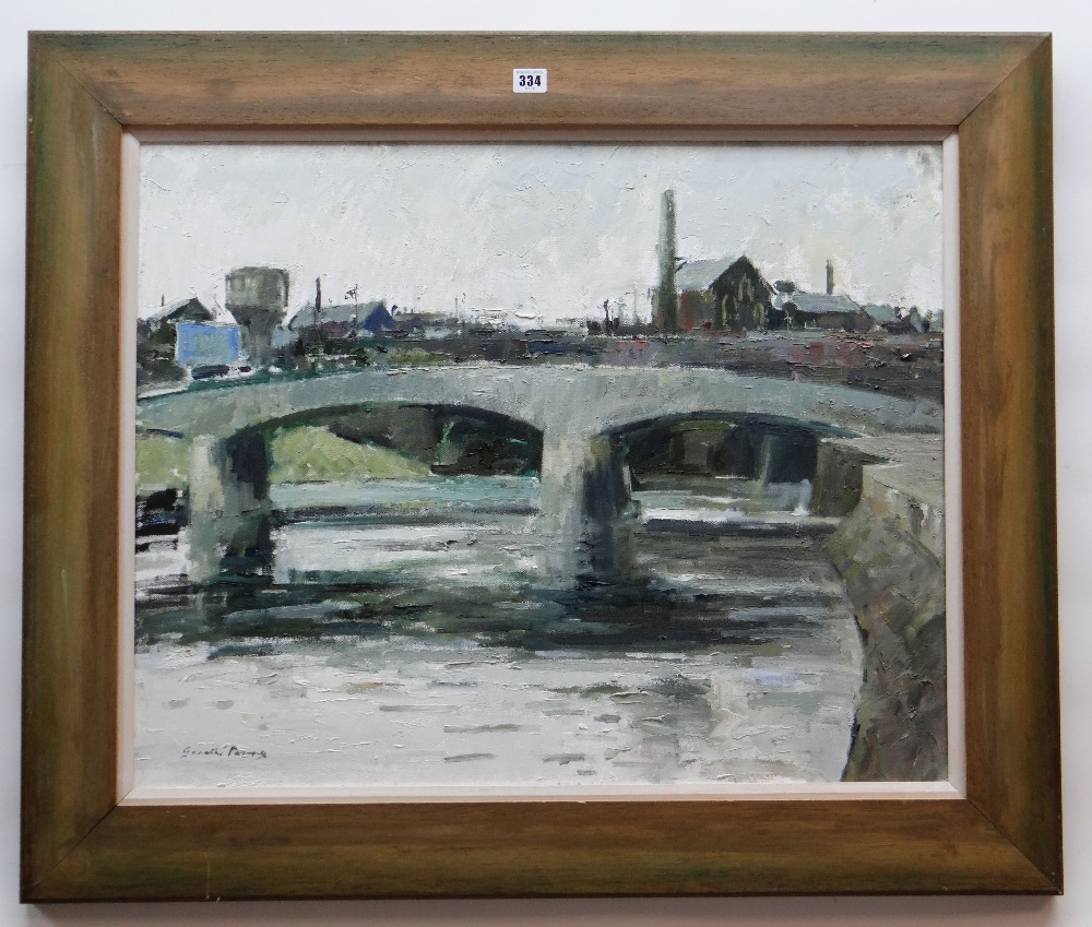 GARETH PARRY oil on canvas - the River Taff and Cardiff skyline, entitled verso on Kooywood - Image 2 of 2