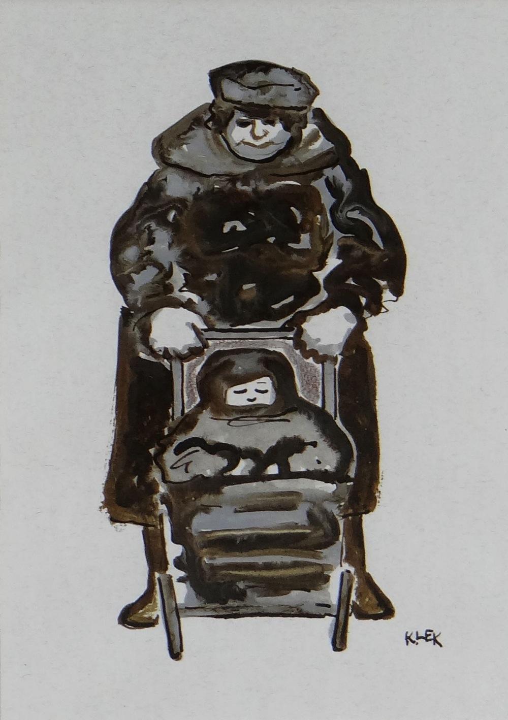 KAREL LEK mixed media - lady pushing child in a pram, entitled verso 'Buggy', signed, 24 x 17cms