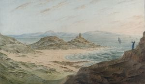 JAMES WILCOX (1785-1865) watercolour - entitled 'The Mumbles Light and Bracelet Bay, South Wales',
