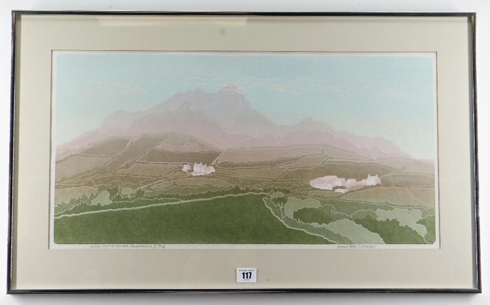 BERNARD GREEN limited edition (42/70) linocut - entitled in pencil 'Finding Light at Carn Llidi, - Image 2 of 2