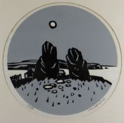 SIR KYFFIN WILLIAMS RA limited edition (113/500) two colour linocut of circular format - ancient
