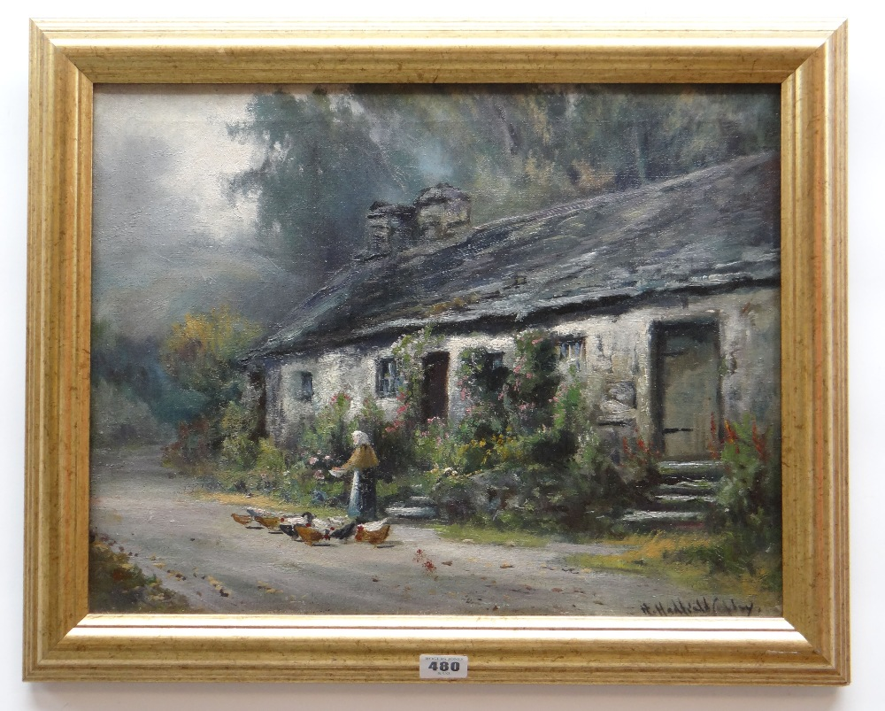 HENRY HADFIELD CUBLEY oil on canvas - figure feeding poultry beside Welsh cottage, entitled verso ' - Image 2 of 2