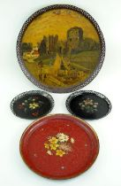 GROUP OF PONTYPOOL OR USK JAPANNED TRAYS comprising pair of circular floral painted trays with