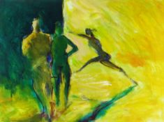TOM NASH acrylic - two standing ballet dancing figures in the wings as another leaps on stage,