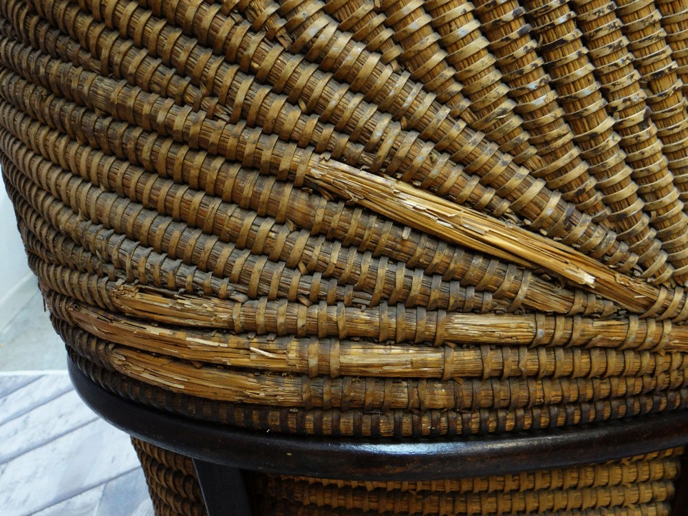 A RARE 19TH CENTURY MONMOUTHSHIRE LIPWORK BEEHIVE ARMCHAIR of wicker composition, wooden structure - Image 6 of 6