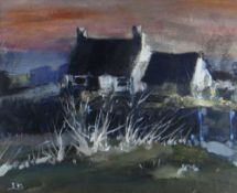LEONARD BEARD oil on card - cottage at sunset, signed with initials, 23 x 29cms Provenance: