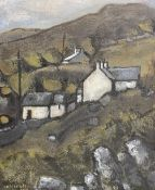 WILF ROBERTS oil on canvas - Ynys Mon landscape with houses, entitled verso on Attic Gallery,