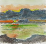 WILF ROBERTS watercolour and pencil - view across farmland with mountains in background, signed in