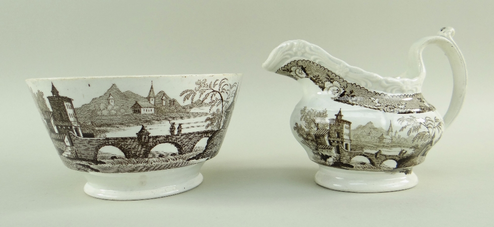 GLAMORGAN POTTERY PART TEA SERVICE IN THE BRIDGE & TOWER TRANSFER printed in brown, comprising - Image 5 of 6