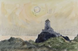 SIR KYFFIN WILLIAMS RA mixed media - Ynys Mon (Anglesey) coastal sunset with Twr Mawr lighthouse