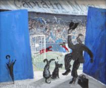 NICK HOLLY acrylic on canvas - final goal, Real Madrid v Cardiff City European Cup 1971, entitled