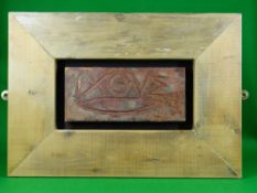 OGWYN DAVIES clay and wood construction - with inscribed fish symbol and the lettering 'IXOYE'