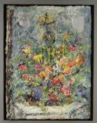 GLYN JONES mixed media on board - flowers, entitled verso 'Festival', signed on edge of board and