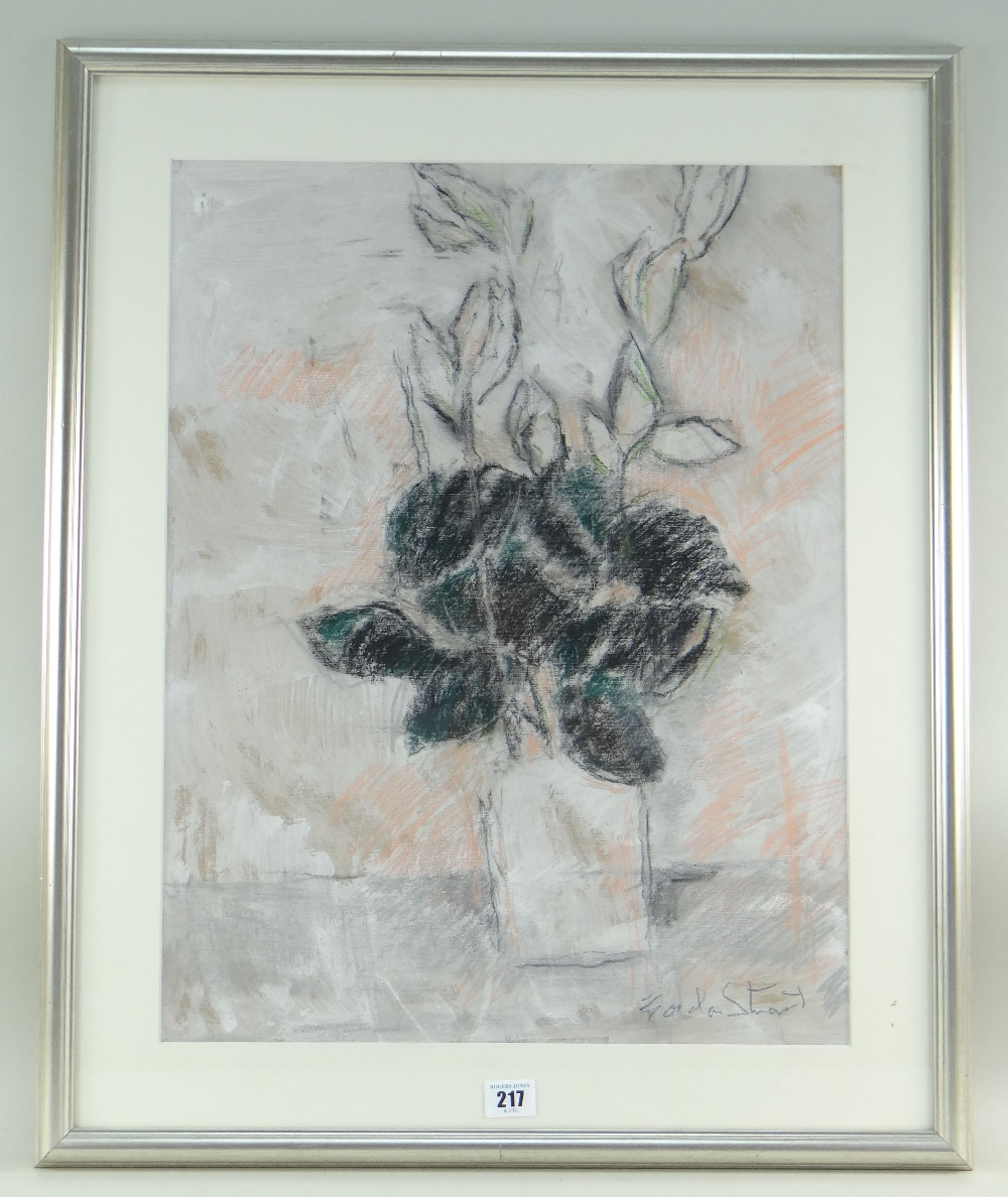GORDON STUART mixed media - still life of cut flowers in a glass vase, signed, 55 x 43cms - Image 2 of 2