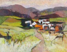 JOHN ELWYN acrylic on paper - landscape, entitled verso on Ash Barn Gallery label, 'Mid Wales Farm',