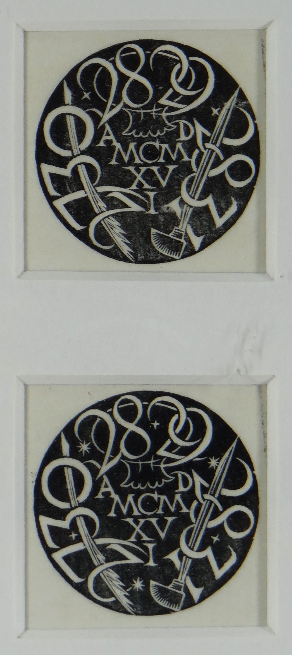 ERIC GILL pair of wood engravings framed together - entitled 'Circular Device', circa 1916, 4 x 4cms
