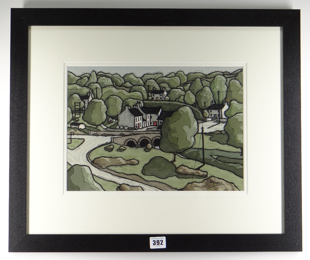 ALAN WILLIAMS acrylic - road bridge and cottages, entitled verso 'Little Mill, Dyfed', signed, 25 - Image 2 of 2