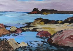 SION MCINTYRE oil on paper - coastal scene with rocky outcrop, entitled verso on Albany Gallery