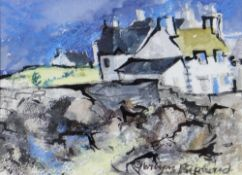 GWILYM PRICHARD mixed media - entitled verso 'Rocks and Boat', signed, 13 x 18cms Provenance: