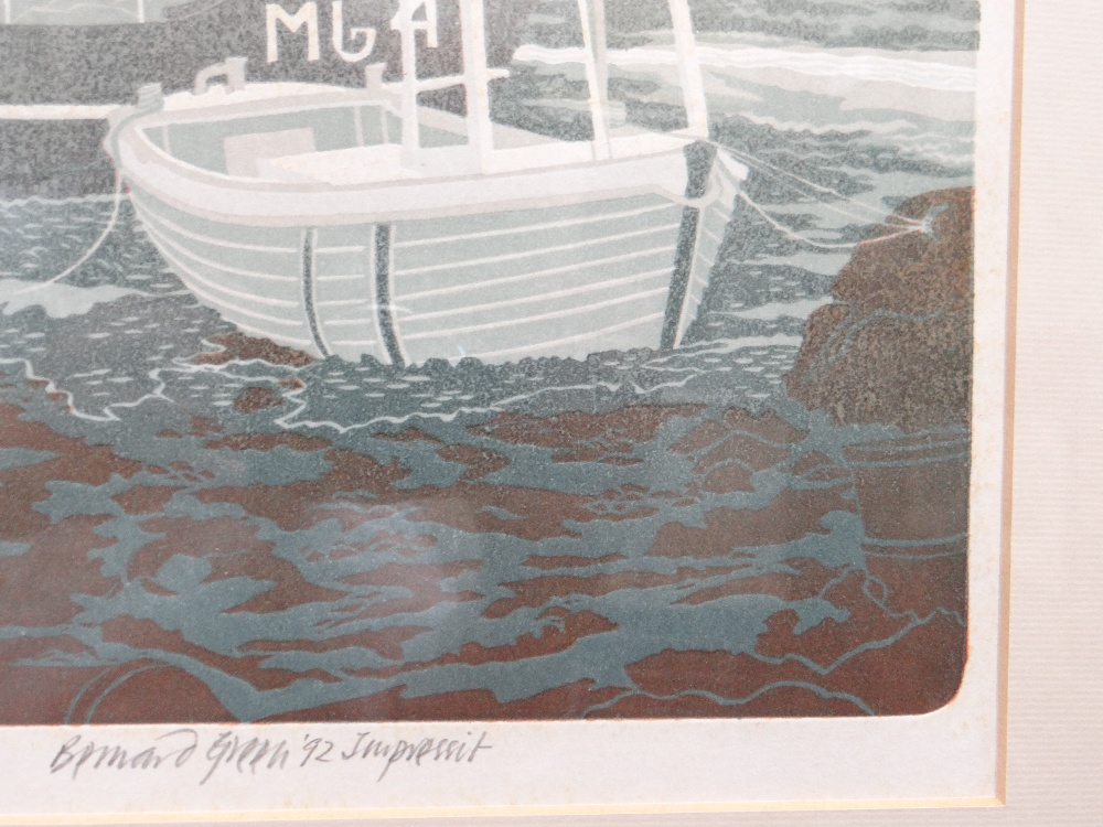 BERNARD GREEN limited edition (8/55) linocut print - entitled 'Boats at Lower Fishguard', signed, 37 - Image 5 of 8
