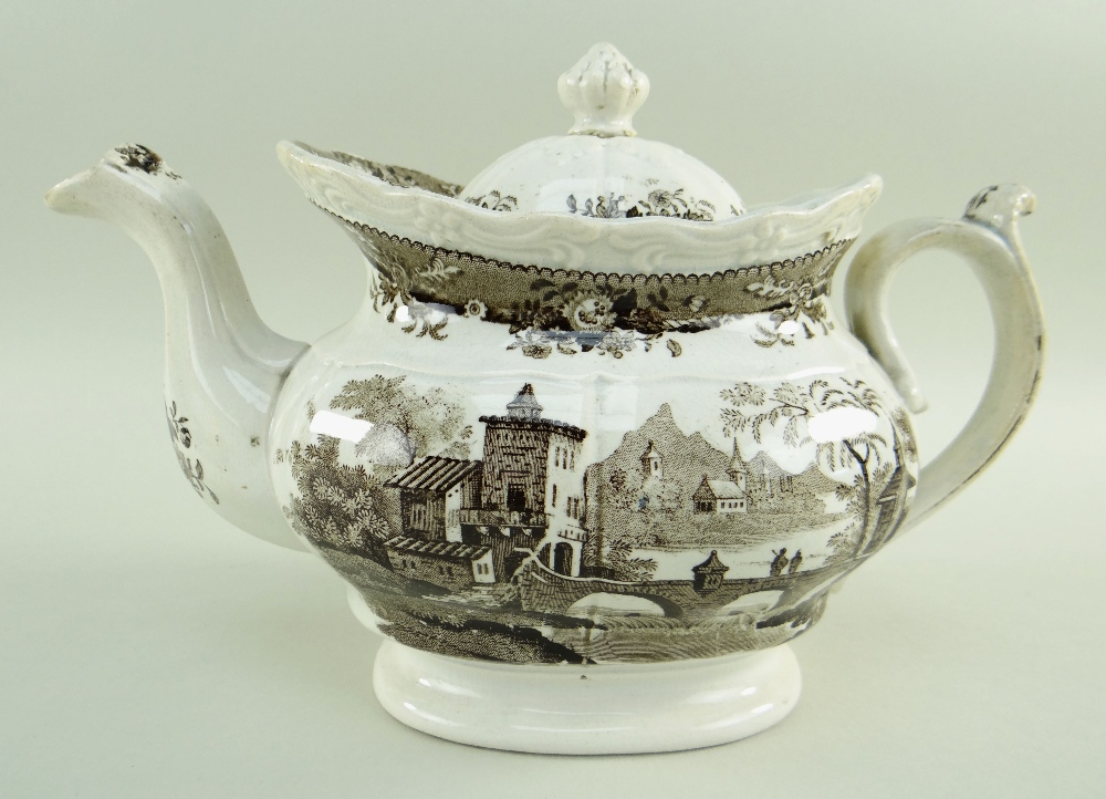 GLAMORGAN POTTERY PART TEA SERVICE IN THE BRIDGE & TOWER TRANSFER printed in brown, comprising - Image 2 of 6