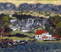 GWILYM PRICHARD early career oil on board - entitled verso 'Yellow Sky Anglesey', signed and dated