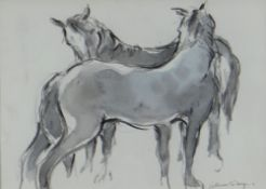 WILLIAM SELWYN watercolour - two standing ponies, signed, 5.5 x 5.75cms Provenance: private