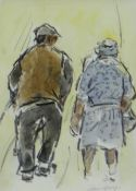 WILLIAM SELWYN watercolour - two walking figures, signed, 7.5 x 5.5cms Provenance: private